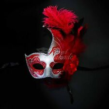 Ostrich Feather Venetian Masquerade Mask for Women M6131 [Silver/Red]