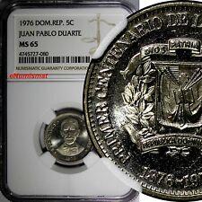 DOMINICAN REPUBLIC 1976 5 Centavos NGC MS65 Death of Juan Pablo Duarte KM# 41