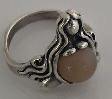 Goddess of Abundance Ring Sterling Silver sz 6.5 w/ Genuine Peach Moonstone gem