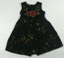 April Cornell Girls Sleeveless Black Velvet Floral Red Birds Dress Size 2
