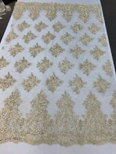 LT-GOLD METALLIC DAMASK LACE EMBROIDERY ON A TEXTURE MESH-BY YARD.FREE SHIPPING.