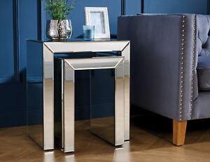 Birlea Valencia Mirrored Nested Nest of Table Bevelled Glass Modern Designer