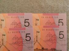4 NOTES - 2 x 1995 $5 EVANS / FRASER CONSECUTIVE PREFIXES SERIAL NUMBERS. RARE.