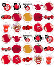 30 PRE-CUT COMIC RELIEF (CR3) MIXED CUP CAKE EDIBLE RICE WAFER PAPER TOPPERS