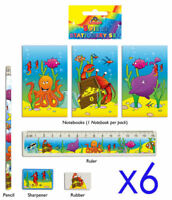 6 Sealife Stationery Sets - Toy Loot/Party Bag Fillers Wedding/Kids