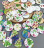 FREE 20-100 PCs Christmas trees & holly Wooden Buttons Sewing DIY Scrapbook 20MM