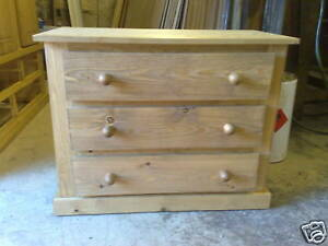 PINE FURNITURE 3 DRAWER AYLESBURY CHEST IN OLD ANTIQUE WAX NO FLATPACK