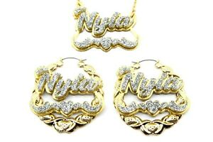 """Name Plate Custom Necklace XOXO 2.5"""" Earrings Personalized Nameplate Jewelry Set"""