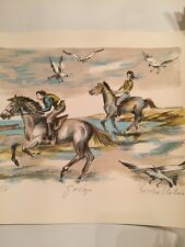 Vintage Original Enrico Molino A P Signed Lithograph Print of Galloping Horses
