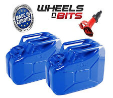 2x 10L Litre BLUE JERRY MILITARY CAN FUEL PETROL DIESEL RED BLUE GREEN & SPOUT