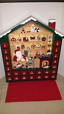 "LARGE 24"" Kirkland Wooden Wood Advent Christmas Calendar Santa Workshop  Noel"