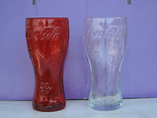 2pc Coca Cola glasses snowflake Christmas different glass red used rare