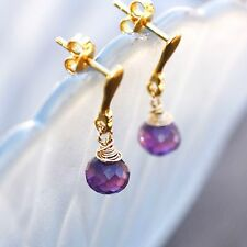 Wire Wrapped Natural Amethyst Earrings 14K Vermeil Studs  February Birthstone