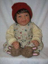 """19""""  Lee Middleton Baby Doll By Reva 1997 Bunny Print Overalls & Bunny Slippers"""