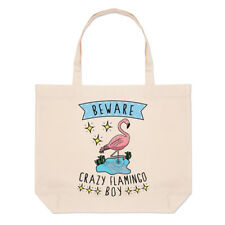Beware Crazy Flamingo Boy Large Beach Tote Bag - Funny Animal