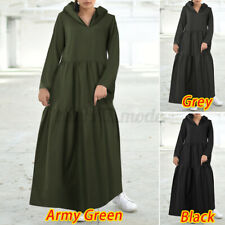 US Womens Autumn Warm Plus Size Hoodies Pullover Dress Kaftan Abaya Maxi Dress