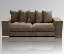 Amaris Elements   Samt Couch, braun 3-Sitzer Sofa, 224x106xH65cm