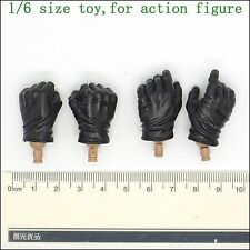 XB136-01 1/6 Scale HOT Black Glove Hands 2 Pairs TOYS