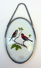 Vtg Window Glass Panel Bird Hanging Decor Hand Painted Ornament Stained Glass