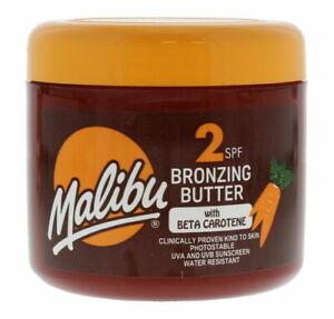 2 x Genuine MALIBU Fast Tanning Bronzing Butter SPF2 (300ml) With Beta Carotene