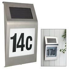 Solar Hausnummer mit 2 LED Beleuchtung Design Edelstahl Glas Hausnummernleuchte