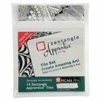 Sakura Pigma Zentangle Apprentice - 114x114mm White Tile Set - Pack of 15