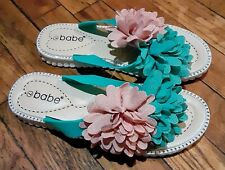 New Woman's Green Dahlia Floral Sandals W/ Rhinestone Outline