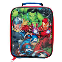 Official Marvel Avengers Hulk Panther Iron Man Kids Blue Insulated Lunch Bag Box
