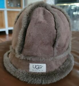 Authentic UGG Bucket Hat Leather Shearling Classic Brown One Size