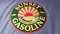 VINTAGE SUNSET GASOLINE PORCELAIN GAS MOTOR OIL SERVICE STATION PUMP SIGN