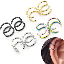 1pcs Titanium 2 Rings Ear Cuff Clips On Helix Cartilage Ring No Piercing Body Jewelry Earless Earring Punk Jewelry Earrings Clip Jewelry & Accessories