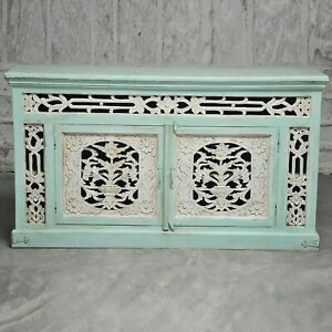 Made to Order Jali Hand Carved Solid wood Sideboard Turquoise L