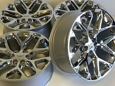 "22"" CHROME 5668 CHEVY SILVERADO LTZ GMC SIERRA WHEELS RIMS OEM FACTORY SNOWFLAKE"