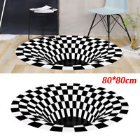 US! 3D Bottomless Hole Optical Illusion Rug Round Carpet Mat Home Room Living