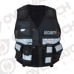"""Overwatch TB2 Black Reflective Load Bearing Vest - Including """"Security"""" Patches"""