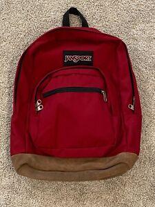 Jansport Backpack Book Bag Leather Suede Bottom Red