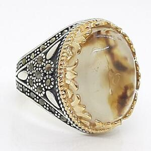 LARGE 15.45ctw Agate 14K Yellow Gold 925 Sterling Silver Men's Ring Size 10.5
