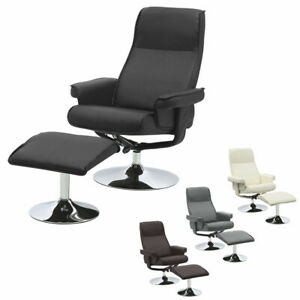 Swivel High Back Recliner PU Leather Armchair Manual Tilt Office Chairs w/ Stool