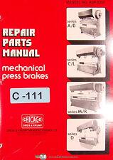 Chicago Dries & Krump, AB CL ME & D, Mechanical Press Brake, Repair Parts Manual
