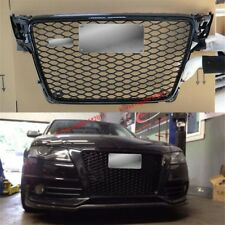 RS4 Front Sline Euro Quattro Grille Gloss Black For 09-12 Audi A4 S4 B8 8K Avant
