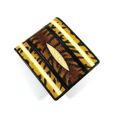 Stingray Wallet Tiger Motif Black Yellow with White Line Color Genuine Leather