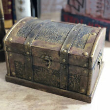 Wooden Treasure Box Container Vintage Trinket Gift Box Trunk Box Chest Pack