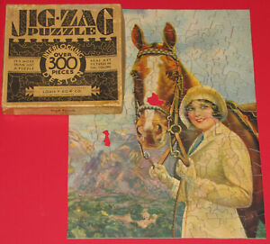 """VTG JIG-ZAG PICTURE PUZZLE """"GOOD FRIENDS"""" by Irene Patton LADY HORSE FIGURALS -2"""