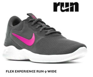 Nike Women's Flex Experience Run 9 Size 8 Wide Running Shoe Grey Pink NEW $65 RT