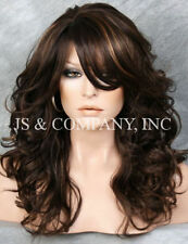 WOW Heat Safe Long Wavy Curly Brown Strawberry Blonde mix Wig WBBL 4-27
