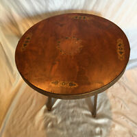 """Vintage 1940 25"""" Round Wood Folding Game/ Living Room Center Table Made In Italy"""