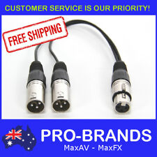 Y Adapter One 1 x Female to Two 2 x Male XLR Splitter Cable Lead Short Dual DMX