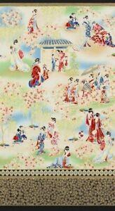 "23"" Fabric Panel - Robert Kaufman Imperial Metallic Geisha Cherry Blossom Scene"