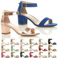 WOMENS LADIES LOW MID BLOCK HEEL ANKLE STRAP BUCKLE PARTY STRAPPY SANDALS SIZE