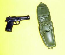 """21st CENTURY GI JOE BLACK HAND GUN & GREEN HOLSTER FOR 12"""" ACTION FIGURES"""